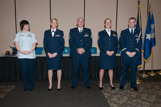 Five Utah Air National Guard members received Airman of the Year awards during a surprise awards banquet at Hill Air Force Base, Jan. 4. The 2012 award recipients are as follows. Airman of the Year: Senior Airman Rebecca Bagley, 130th Engineering & Installation Squadron. Noncommissioned Officer of the Year: Staff Sgt. Alisa Stanley, 151st Comptroller Flight.