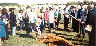 Employees break ground at the current building site on University Square. In 1995, the Corps redesignated Huntsville Division, calling it the U.S. Army Engineering and Support Center. That same year, Huntsville Center moved into its current location on University Square.