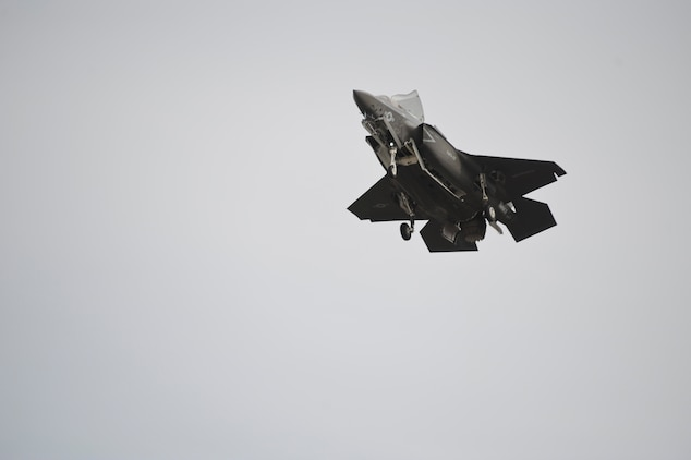 Marine Fighter Attack Squadron 121 F-35B Lightning II Joint Strike Fighter prepares to make a vertical landing aboard Marine Corps Air Station Yuma, Ariz., March 21, 2013. This marks the first vertical landing of a Marine Corps F-35B outside of a testing environment.