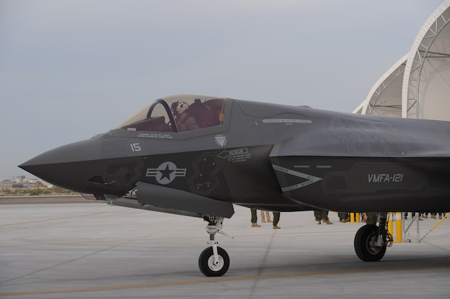 Marine Fighter Attack Squadron 121, the Corps' first operational F-35B Lightning II squadron, prepares for flight operations aboard Marine Corps Air Station Yuma, Ariz. March 21, 2013.  VMFA-121 conducted the Marine Corps' first Short Take Off, Vertical Landing operations outside of a testing environment on the same day.