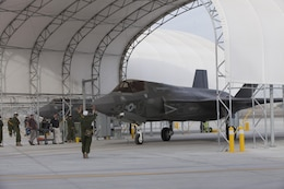 Marine Fighter Attack Squadron 121 conducted its first F-35B Lightning II short take off and vertical landing at Marine Corps Air Station Yuma, Ariz., March 21, 2013. VMFA-121 is the Marine Corps' first operational F-35B squadron which is currently building its operational capabilities to include 16 total aircraft and up to 300 personnel.