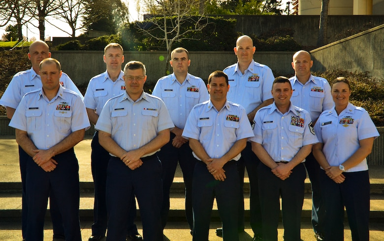 Group Constantine, of Class 193 at Coast Guard Training Center Petaluma, Calif., poses for a group photo, Feb. 26, 2013. Left to right front row are: Boatswains Mate Chief Jadon Sprague, Operations Specialist Chief Steven Munger, Information Technician Chief Jack Jarosz, Master Sgt. Kevin Wallace and BMC Jennifer Stanton. Left to right back row are: Gunners Mate Chief David Watson, Machinery Technician Chief Jamie Walker, Damage Controlman Chief Bill Dooley, Aviation Maintenance Technician James Rattrie, and Marine Science Technician Chief Chris Lynch. (Courtesy photo)