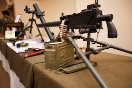 A 1919 .30-caliber, air-cooled light machine gun is on displayed for attendance during the 68th annual Battle of Iwo Jima Commemoration ceremony at the Pacific Views Event Center here March 23.