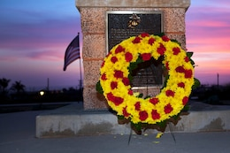 A commemorative wreath is laid for the 68th annual Battle of Iwo Jima Commemoration ceremony held at the Pacific Views Event Center here March 23.