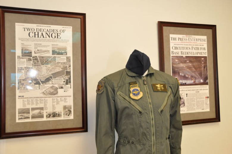 The flight suit of the first female aircraft commander, Lt. Col. Kathy La Sauce, adorns a mannequin at the new Norton Air Force Base Museum.  (Photo by Scott Johnston)