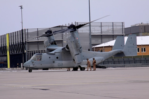 In preparation for a capabilities demonstration in Stuttgart, Germany, an MV-22B Osprey, from the Marine Medium Tiltrotor Squadron 266 (Reinforced), 26th Marine Expeditionary Unit, II Marine Expeditionary Force, Camp Lejeune, N.C., is staged at Stuttgart Army Airfield. The MV-22B Osprey has a unique tilt-rotor capability that allows it to fly twice as fast, twice as high, and six times farther than legacy medium-lift helicopters, while carrying three times more weight.