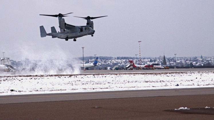 An MV-22B Osprey assigned to the Marine Medium Tiltrotor Squadron 266 (Reinforced), 26th Marine Expeditionary Unit, II Marine Expeditionary Force, Camp Lejeune, N.C., approaches the Stuttgart Army Airfield to prepare for a capabilities demonstration, scheduled for the next few days in Stuttgart, Germany. The MV-22B Osprey has a unique tilt-rotor capability that allows it to fly twice as fast, twice as high, and six times farther than legacy medium-lift helicopters, while carrying three times more weight.