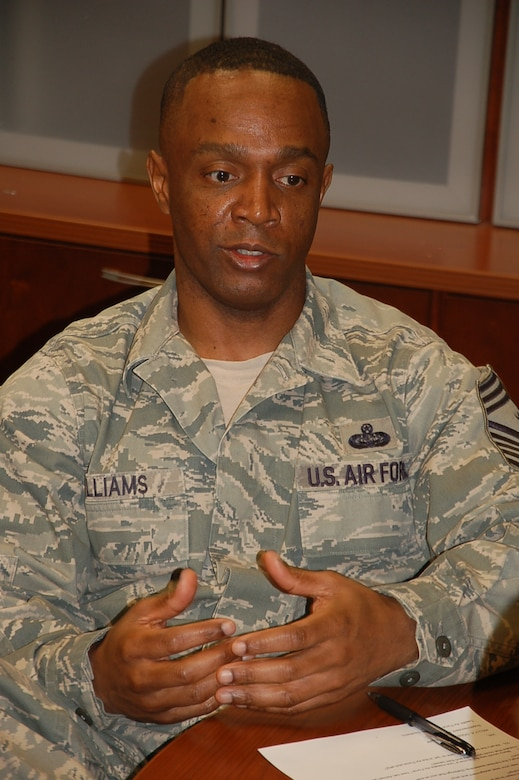 """""""Airmen are a chief's greatest legacy…,"""" said Chief Master Sgt. Calvin Williams, 12th Air Force (Air Forces Southern) command chief. (USAF photo by Chief Master Sgt. Greg Koenig/released)."""