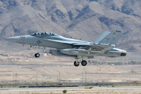 An EA-18G Growler takes off March 11, 2013, from Nellis Air Force Base, Nev. Airmen assigned to the 390th Electronic Combat Squadron have been participating in Red Flag 13-3 throughout the past week. (Courtesy photo)
