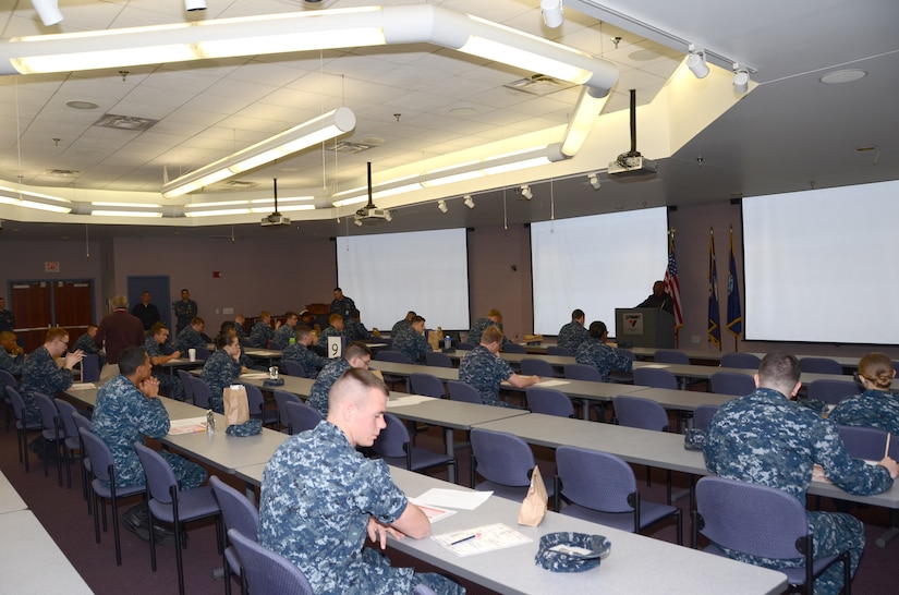 Sailors from commands throughout Joint Base Charleston participate in the Navywide, third class petty officer exam March 21, 2013, at Space and Naval Warfare Systems Atlantic on JB Charleston – Weapons Station. More than 2,000 JB Charleston Sailors tested for promotion to E-4, E-5 and E-6 during the March 2013 exams. (US Navy photo/ Petty Officer 1st Class Chad Hallford)