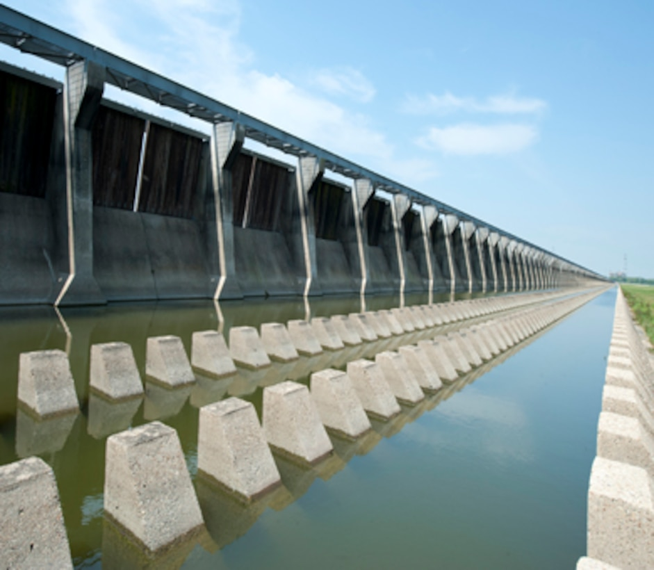 The Bonnet Carré Spillway, part of the Mississippi River and Tributaries project (MR&T) is the southernmost floodway in the MR&T system. Located in St. Charles Parish, Louisiana, the spillway reduces risk for New Orleans and other downstream communities during major floods on the Mississippi River. This risk reduction is accomplished by diverting a portion of the floodwaters into Lake Pontchartrain and then into the Gulf of Mexico, bypassing New Orleans. This spillway was first opened during the flood of 1937, and nine times thereafter through 2011 to lower river stages at New Orleans.