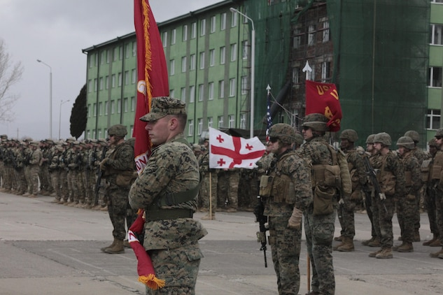 U.S. Marines and sailors stand at attention next to the Republic of Georgia's 4th Infantry Brigade for the opening ceremony of the Exercise Agile Spirit 13 joint training event.