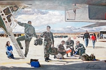 This oil painting, which is currently in the care of the 419th Flight Test Squadron, depicts a variety of Bomber Combined Test Force personnel preparing for a B-1 mission with Tech. Sgt. Chad McBunch's image in the center of the painting handing a helmet bag to a B-1 pilot. The oil painting embodies the history, unity and collaboration that countless engineers, contractors, government employees and crew chiefs, like Sergeant McBunch, have provided to the Bomber Combined Test Force over the years. (U.S. Air Force photo by Jet Fabara)
