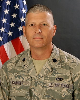 Portrait of Lt.Col. Chris Gamble, commander of the 169th Maintenance Squadron, Arpil 27, 2011.