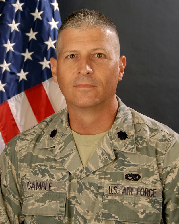 Portrait of Lt.Col. Chris Gamble, commander of the 169th Maintenance Squadron, Arpil 27, 2011.(National Guard photo by Senior Master Sgt. Edward Snyder/RELEASED)