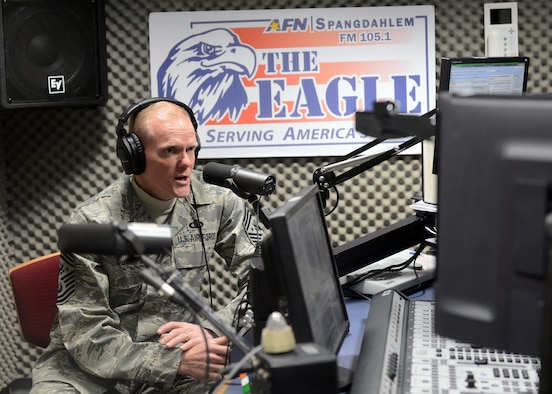 SPANGDAHLEM AIR BASE, Germany -- Chief Master Sgt. of the Air Force James Cody talks on his first live American Forces Network radio show interview March 26, 2013. Cody spoke for nearly 45 minutes to Spangdahlem listeners about key Air Force issues and priorities. (U.S. Air Force photo by Staff Sgt. Daryl Knee/Released)