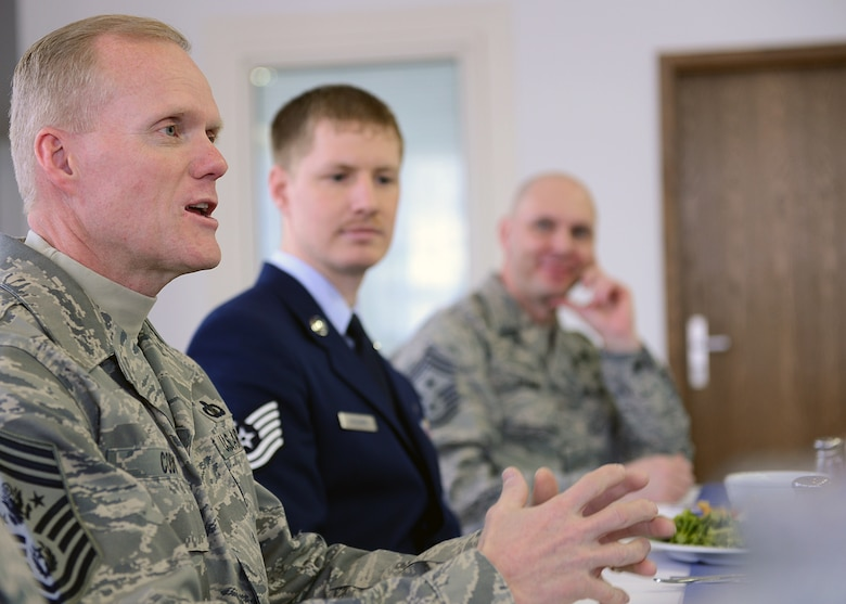 SPANGDAHLEM AIR BASE, Germany -- Chief Master Sgt. of the Air Force James A. Cody speaks with leaders of Spangdahlem Air Base's professional military organizations at a luncheon inside the Mosel Dining Facility March 25, 2013. The groups provided the chief background information on their unit's contributions to the Spangdahlem community through both localized events and charity donations. (U.S. Air Force photo by Staff Sgt. Daryl Knee/Released)