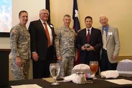 Brig. Gen. Thomas Kula, Southwestern Division commander, Developer George Schuler, Col. Michael Teague, Tulsa District commander, Denison Mayor Jared Johnson and Rep. Ralph Hall attend commemoration of land sale to city of Denison, Texas.