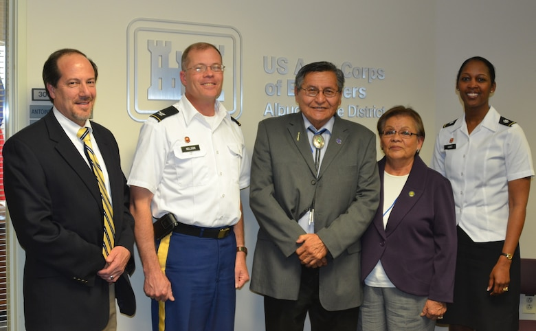 Left to right: John D'Antonio Jr., Deputy District Engineer; Col. Andrew Nelson, Deputy Commander, South Pacific Division; President Ben Shelly, First Lady Martha Shelly, Lt. Col. Antoinette Gant, Commander, Albuquerque District.