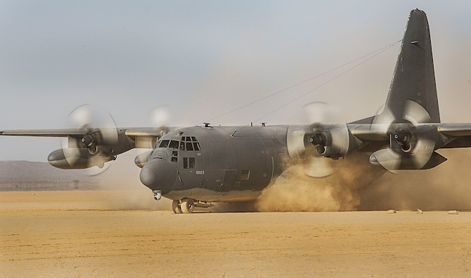A U.S. Air Force MC-130P Combat Shadow from the 81st Expeditionary Rescue Squadron (EQRS) prepares to take off during a training exercise in the Grand Bara Desert, Djibouti, March 5, 2013. The 81st ERQS conducts regular training exercises in support of Combined Joint Task Force-Horn of Africa. (U.S. Air Force photo by Staff Sgt. Devin Doskey/Released)