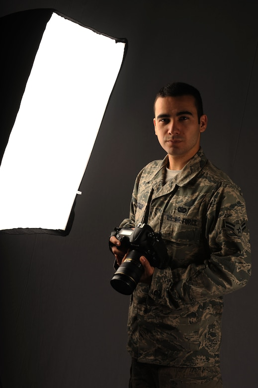 SPANGDAHLEM AIR BASE, Germany -- U.S. Air Force Airman 1st Class Gustavo Castillo, 52nd Fighter Wing Public Affairs photojournalist, is the Super Saber Performer for the week of March 28 – April 3. (U.S. Air Force photo by Airman 1st Class Kyle Gese/Released)