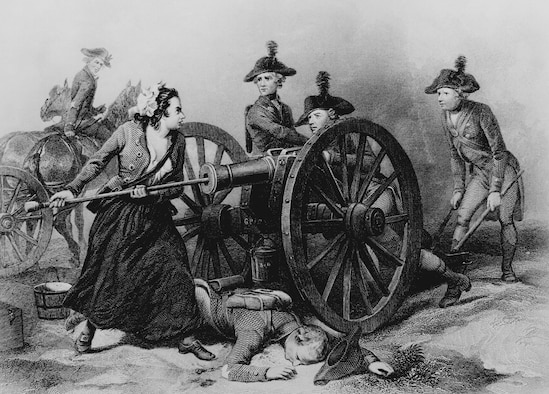 """This engraving shows Mary Ludwig Hays McCauley, known as """"Molly Pitcher,"""" the legendary heroine of the American Revolution, who is said to have participated in the Battle of Monmouth on June 28, 1778. (Courtesy of the National Archives)"""