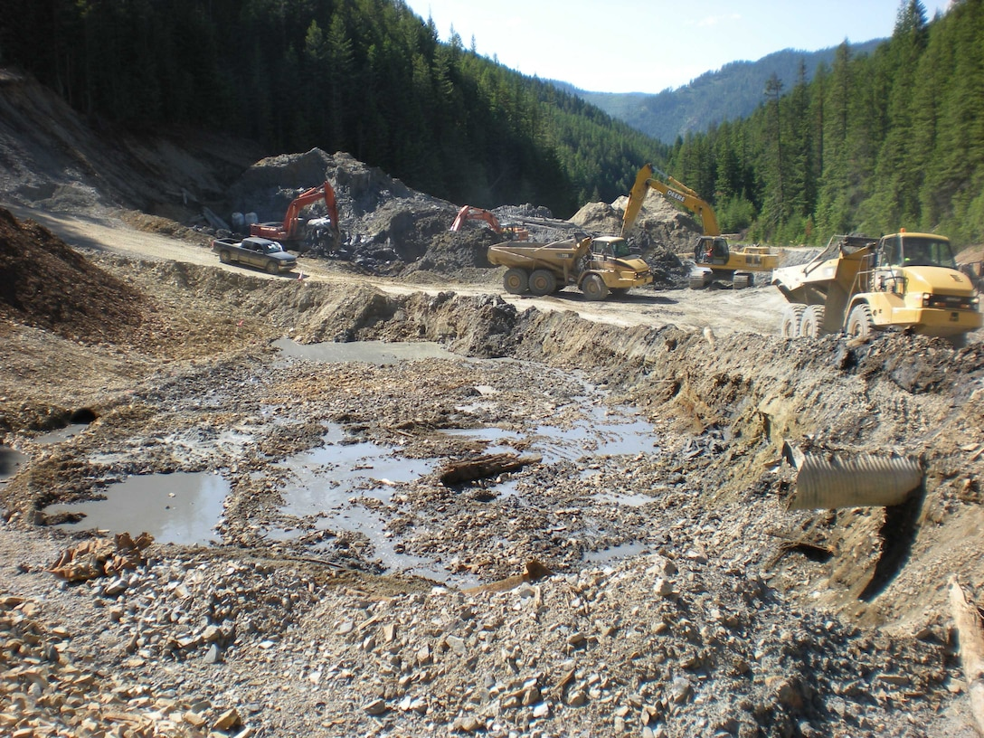 During construction, the crew encountered this substance, which was a byproduct of the milling operations. In its undisturbed state, it looked like clay. But when the vibration of the excavator disturbed it, it liquefied. They had to mix concrete in with it to stabilize it before it could be moved.