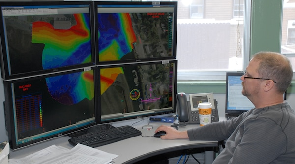 "Gene Hubbell, engineering technician in the Geomatics Section, examines a project condition survey of Craig Harbor in AutoCAD Civil 3D. The Alaska District won best project in the ""Innovative Use of Civil 3D"" category Jan. 11 in the 2012 U.S. Army Corps of Engineers BIM Awards."
