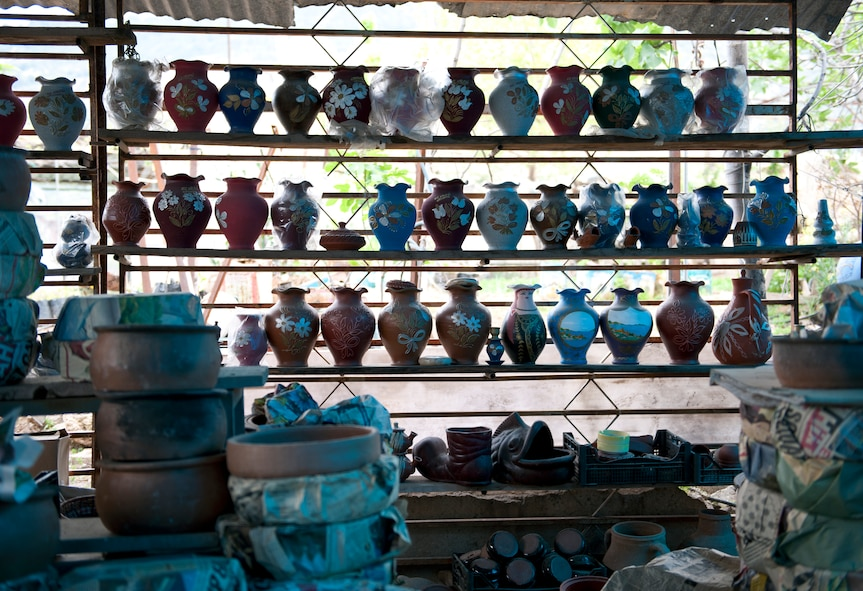 Clay pots sit on a shelf at a small open-air store along the road in the Mersin Province March 31, 2013, in Turkey. The small store was a point of interest along the route to Mut as one of Outdoor Recreation's offered destinations. (U.S. Air Force photo by Senior Airman Daniel Phelps)