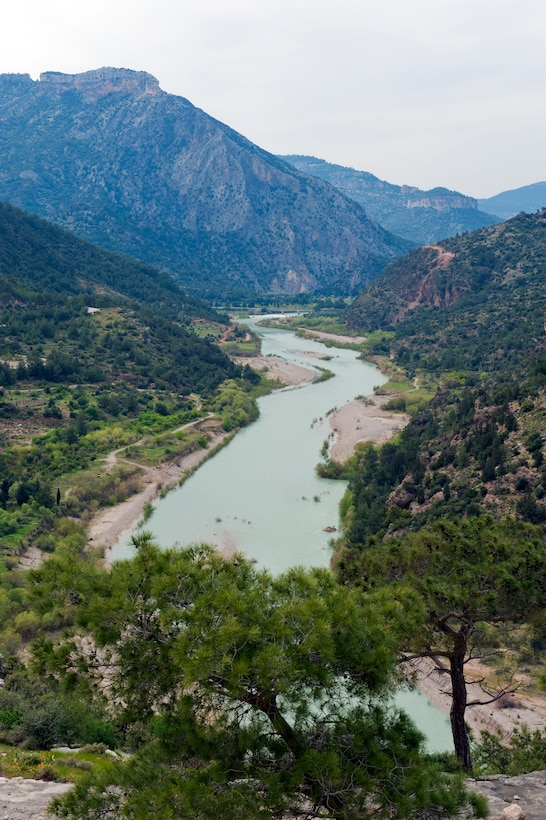 The Goksu River lolls in the valley in the Taurus Mountains of Turkey, March 31, 2013. In 1190, Holy Roman Emperor Frederick I fell off his horse and drowned in this river. (U.S. Air Force photo by Senior Airman Daniel Phelps/Released)