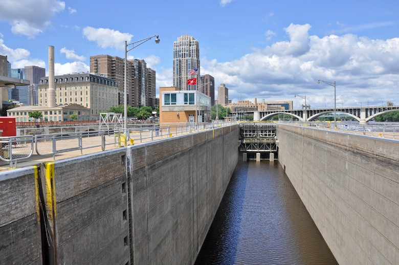 Upper St. Anthony Falls Lock and Dam is located in downtown Minneapolis.