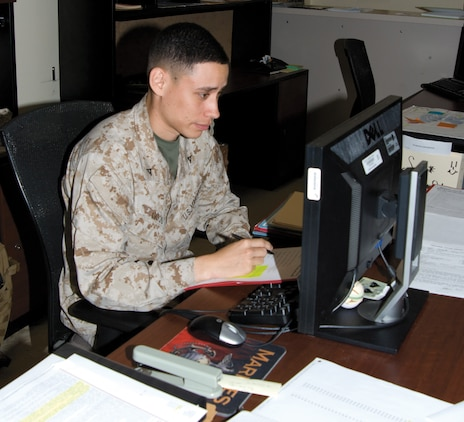 Lance Cpl. Franklin M. Good IV, administrative specialist, Marine Corps Logistics Base Albany, earned the title of Marine of the Quarter during Marine Corps Installations East board, April 5.