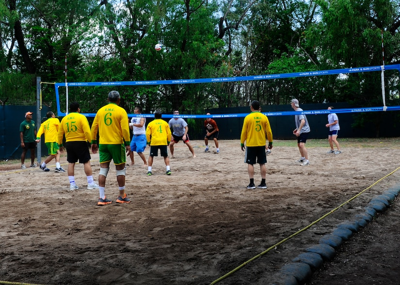 Honduran and Joint Task Force-Bravo officers play a game of volleyball during a day of friendly competitions at the bi-annual Camaraderie Day event, April 26. The Honduran military took home the overall championship trophy. (Photo by Ana Fonseca)
