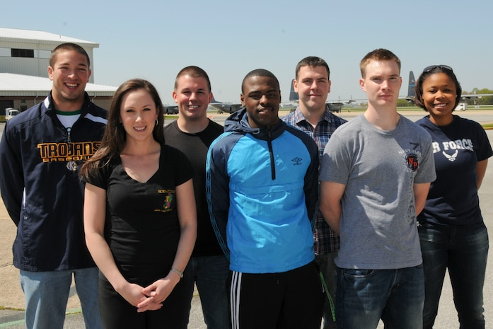 Seven Airmen outprocessed at the New Castle Air National Guard Base, Del., on April 26, 2013 before departing April 30 to begin Air Force Basic Military Training at Lackland Air Force Base, San Antonio, Texas. Left to right (name, hometown, unit and school affiliation): Gavin Jones, Galena, Md., 166th Civil Engineer Squadron, Kent Co. H.S. (Worton, Md.) Class of 2012; Rikki Barnett, Newark, Del., 142nd Aeromedical Evacuation Squadron, Collierville H.S. (Collierville, Tenn.) Class of 2006; Chris Deal, Middletown, Del., 142nd Aeromedical Evacuation Squadron, St. Georges Technical H.S. (Middletown, Del.) Class of 2012; Damon Ayers, Milton, Del., 166th Security Forces Squadron, Cape Henlopen H.S. (Lewes, Del.) Class of 2012; Sean Kelly, Laurel, Del., 166th Civil Engineer Squadron (Explosive Ordnance Disposal Flight), Salisbury State University (Salisbury, Md.) Class of 2012; Michael Capodanno, Newark, Del., 142nd Airlift Squadron, University of Delaware (Newark, Del.) Class of 2015; Nicole Rumph, Dover, Del., 166th Medical Group, Lake Forest H.S. (Felton, Del.) Class of 2010. (U.S. Air National Guard photo by Staff Sgt. Nathan Bright)