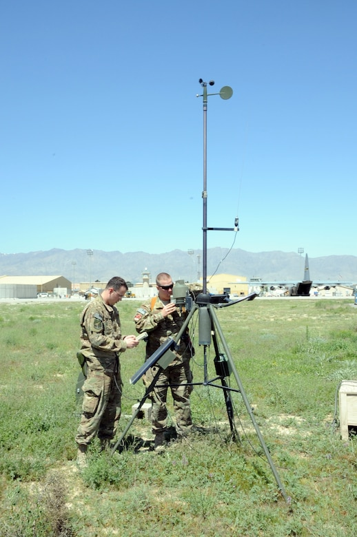 Senior Airman Jonathan Twyman, 455th Expeditionary Operations Support Squadron weather forecaster (left), and Capt. Thaddeus Fridgen, 455th EOSS weather flight commander, troubleshoot a tactical weather station on the flightline on Bagram Airfield, Afghanistan, May 1, 2013. Stations such as this one are set up in multiple locations to gather data on temperature, rainfall, etc., to aid in creating forecasts. (U.S. Air Force photo/Staff Sgt. David Dobrydney)