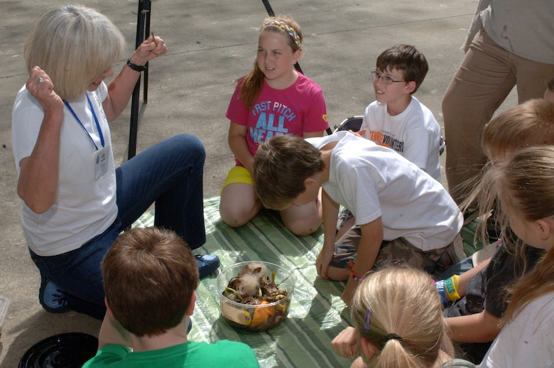 Joy Mayfield, Sierra Club Middle Tennessee Group, teaches West Cheatham Elementary School students about compost on Environmental Awareness Day May 3, 2013 at Cheatham Lake in Ashland City, Tenn. The event was organized and sponsored by the U.S. Army Corps of Engineers Nashville District.