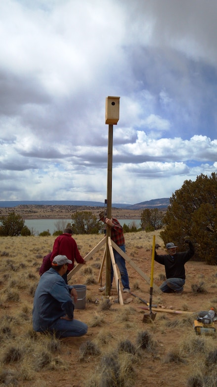 ABIQUIU LAKE, N.M., -- Volunteers at an Earth Day event April 20, 2013, help install a kestrel nesting box near the shoreline. Volunteers and staff will continue to monitor kestrel sightings and nesting activities throughout the year in the hopes of advancing kestrel habitat around the reservoir.