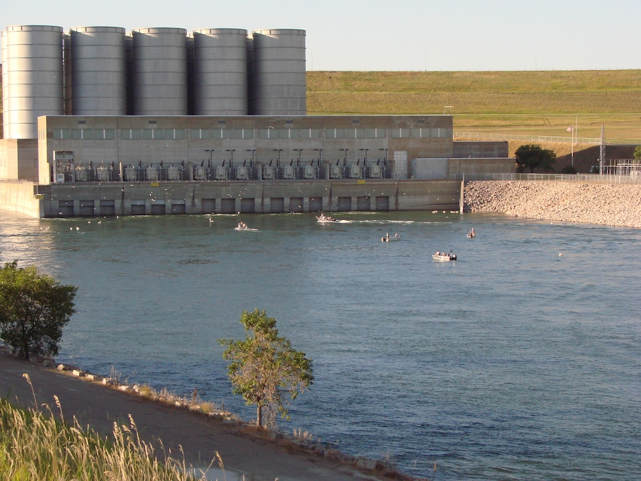Garrison Dam near Riverdale, N.D. Lake Sakakawea, formed by the Garrison Dam is the third largest reservoir in the United States.