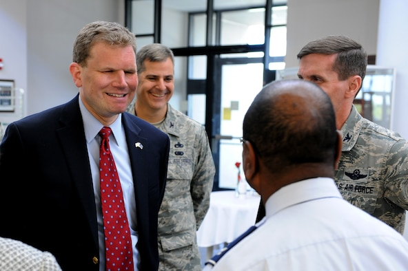 U.S. Rep. Dan Maffei (NY-24) talks with retiring Col. Wenzell Carter during the congressman's visit to Hancock Field Air National Guard Base on Saturday May 4, 2013.  Rep. Maffei spent time at the dining facility eating with members of the 174th Attack Wing. (New York Air National Guard photo by Tech. Sgt. Justin A. Huett/Released)