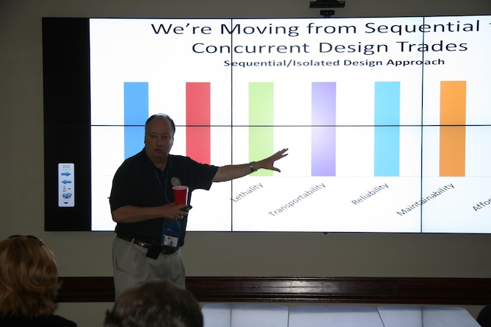 Mike O'Neal, Modeling and Simulation team lead at Marine Corps Systems Command, explains how the Georgia Tech Research Institute facility at Marine Corps Base Quantico, Va., can serve people throughout the command and elsewhere in the Department of Defense. The GTRI facility was designed to support the use of the advanced Model Based Systems Engineering tools for analysis of alternatives.