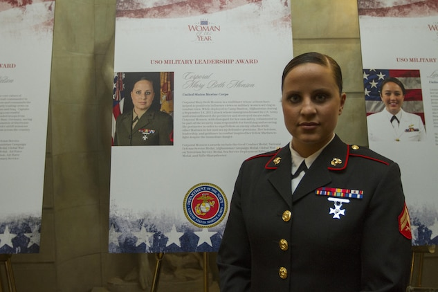 Cpl. MaryBeth Monson poses beside a poster with short description of how she was selected for the Military Leadership Award, May 2, at The Pierre Hotel during the 2013 USO Woman of the Year Luncheon. While deployed to Afghanistan, Monson volunteered to be part of the security team responsible for fortifying and securing the perimeter in order to repel enemy attacks following an attack that occurred on Sept. 14, 2012. Monson is an aircraft intermediate level structures mechanic with Marine Aviation Logistics Squadron 13, Marine Aircraft Group 13, 3rd Marine Aircraft Wing, I Marine Expeditionary Force.  (U.S. Marine Corps photo by Lance Cpl. Daniel E. Valle)