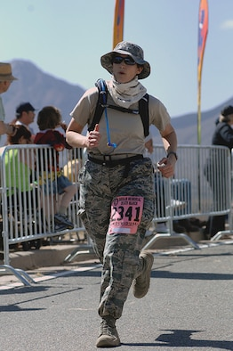 Tech. Sgt. Tracey Piel makes her final push for the finish line.
