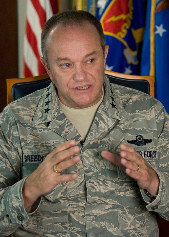 Gen. Philip M. Breedlove discusses his priorities April 25, 2013, as he prepares to take command of U.S. European Command and NATO's Supreme Headquarters Allied Powers Europe.  Breedlove was confirmed by the United States Senate on April 19, 2013, and will assume command from the current EUCOM commander and SACEUR, U.S. Navy Adm. James Stavridis in mid-May. (U.S. Air Force photo by Master Sgt. Wayne Clark)