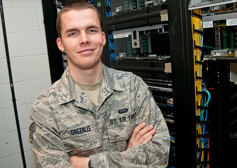Senior Airman Arthur Greenlee, a cyber transport journeyman for the 167th Airlift Wing, was recently selected for a cyber officer position with the Delaware Air National Guard. Greenlee impressed his co-workers with his willingness to take on any job tasked to him and his ability to learn new skills quickly. (Air National Guard photo by Master Sgt. Emily Beightol-Deyerle/Released)