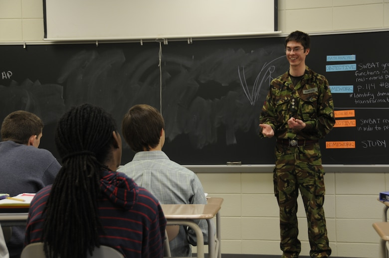 Captain Ben Hancock, a Royal Engineer from the British Army currently working as part of the U.S. Army Corps of Engineers, talks to Reservoir High School Advanced Placement Calculus students about the engineering career field and how he uses math on the job.