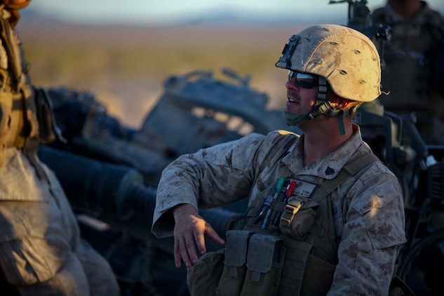 Sergeant Mark Armstrong, a section chief serving with Kilo Battery, 3rd Battalion, 12th Marine Regiment, attached to 2nd Battalion, 11th Marines, recently returned from back-to-back deployments. Armstrong, a native of Hills, Iowa, works with the M777 Lightweight Howitzer and high mobility artillery rocket system. He recently participated during Exercise Desert Scimitar, a combined-armed training exercise.