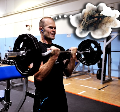 U.S. Air Force Airman 1st Class Shane M. Phipps, 366th Fighter Wing public affairs photojournalist, works out every day to ensure he is mission ready.  Phipps strives to be  physically ready in the event a combat situation presents itself. (U.S. Air Force photo illustration by Airman 1st Class Jaye Legate/Released)
