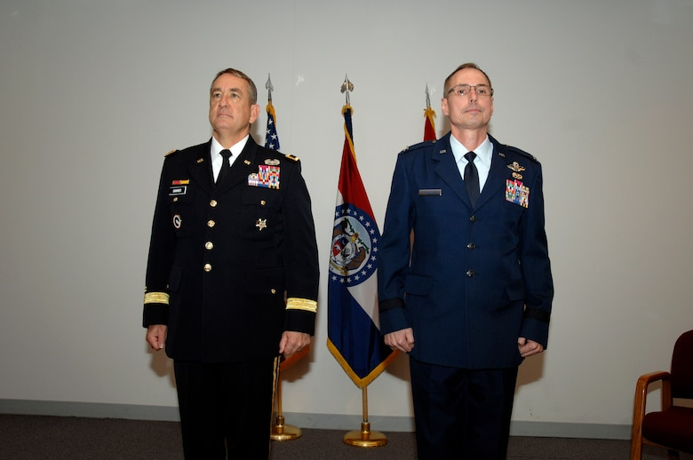 Brigadier General Gregory Champagne of the Missouri National guard stands preparing for his promotion with Missouri Adjutant General Steve Danner on May 4, 2013 at Ike Skelton Training Site in Jefferson City. (Missouri National Guard photo by SGT Katherine Sale)