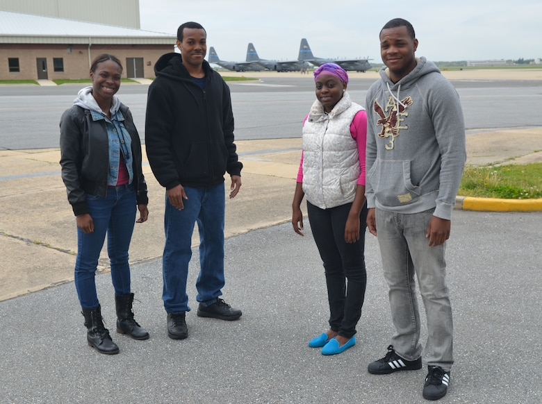 Four recently enlisted Airmen in the Delaware Air National Guard completed outprocessing at the New Castle ANG Base, Del. on May 6, 2013 before departing on May 7 to begin eight-and-a-half week long Air Force Basic Military Training at Lackland Air Force Base, San Antonio, Texas. Left to right: JaVonte Brown, a resident of New Castle, Del. and a graduate of Glasgow H.S. (Glasgow, Del.) Class of 2012; Itia Boulware, a resident of New Castle, Del. and a graduate of William Penn H.S. (New Castle, Del.) Class of 2012; Jascia George, a resident of Claymont, Del. and a graduate of Charlotte Amalie H.S. (U.S. Virgin Islands) Class of 2012; Tyrone Coleman, a resident of Dover, Del. and a graduate of Caesar Rodney H.S. (Camden, Del.) Class of 2008 and Virginia State University (Petersburg, Va.) Class of 2012; (U.S. Air National Guard photo by Tech. Sgt. Benjamin Matwey)