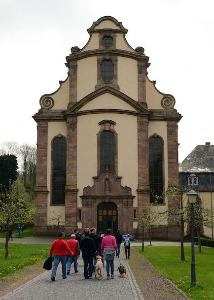 SPANGDAHLEM AIR BASE, Germany – Members of Spangdahlem AB and the German community begin a tour of Himmerod Abbey during an Explore the Eifel hike May 3, 2013. The German Host Nation Council sponsored the tour to provide Spangdahlem members a chance to learn about historic landmarks near the base. (U.S. Air Force photo by Staff Sgt. Daryl Knee/Released)